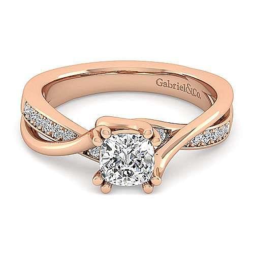 14K Rose Gold Twisted Cushion Cut Diamond Engagement Ring