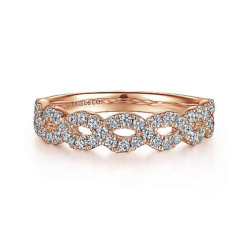 14K Rose Gold Twisted Diamond Anniversary Band