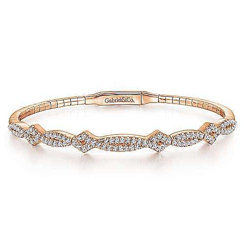 14K Rose Gold Twisted Diamond Bangle