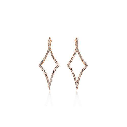 14K Rose Gold Twisted Diamond Huggie Earrings