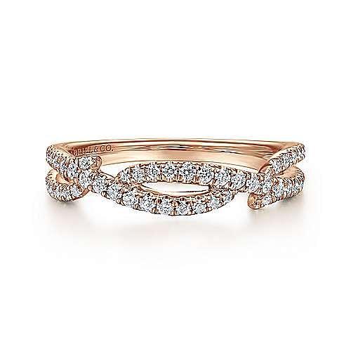 14K Rose Gold Twisted Diamond Ring