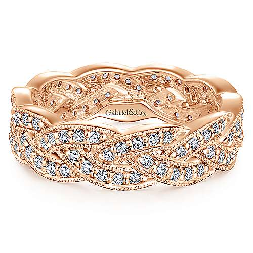 14K Rose Gold Twisted Diamond Rows Eternity Ring
