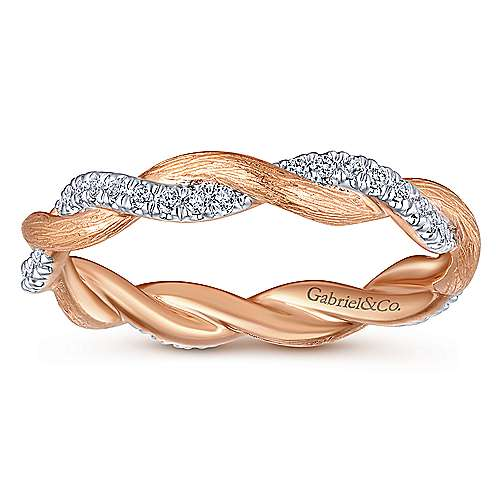 14K Rose Gold Twisted Diamond Stackable Ring