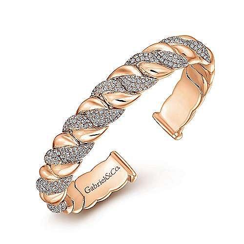 14K Rose Gold Twisted Link Diamond Pavé Cuff Bracelet