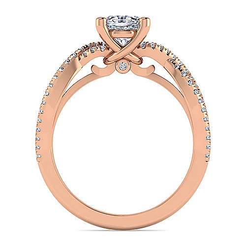 14K Rose Gold Twisted Oval Diamond Engagement Ring