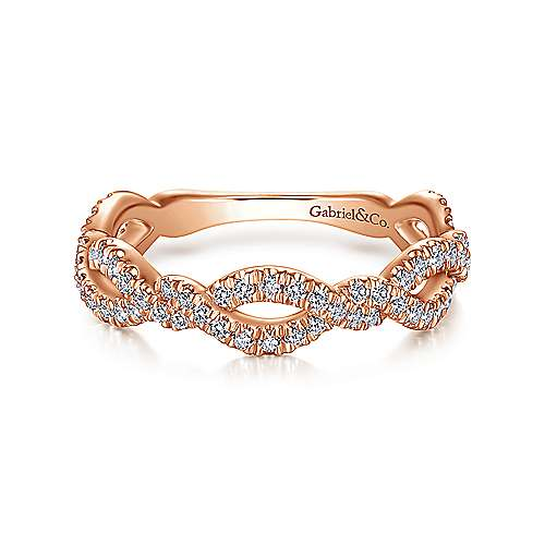 14K Rose Gold Twisted Pavé Diamond Stackable Ring