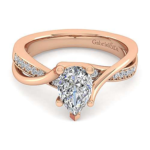 14K Rose Gold Twisted Pear Shape Diamond Engagement Ring