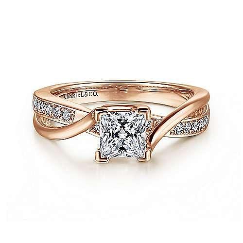 14K Rose Gold Twisted Princess Cut Diamond Engagement Ring