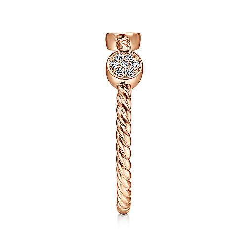14K Rose Gold Twisted Rope Cluster Diamond Station Stackable Ring