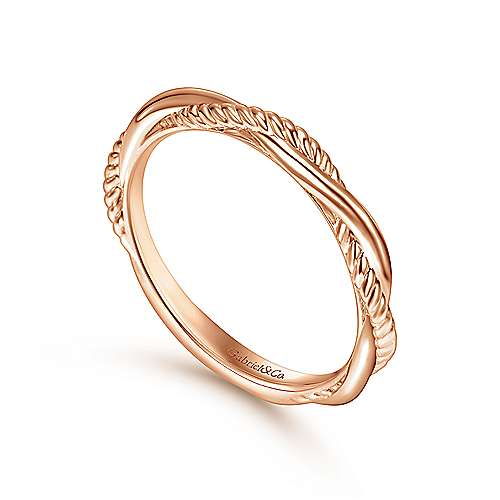 14K Rose Gold Twisted Rope Intertwining Ring