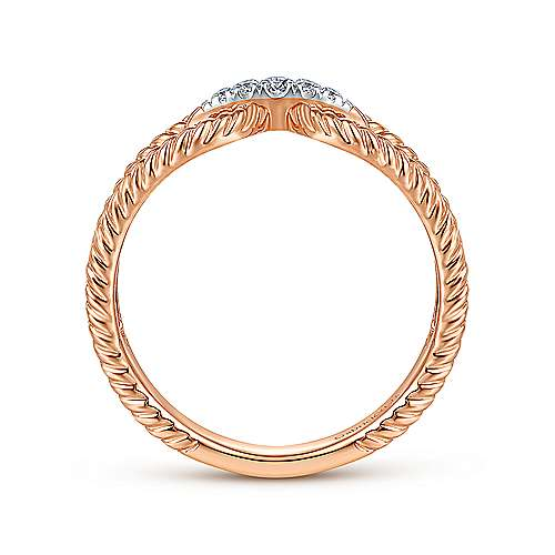 14K Rose Gold Twisted Rope Pavé Diamond Connector Ring