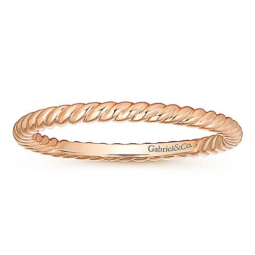 14K Rose Gold Twisted Rope Stackable Ring
