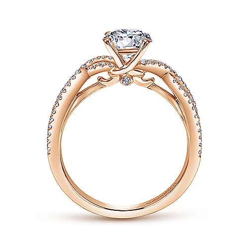 14K Rose Gold Twisted Round Diamond Engagement Ring