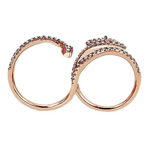 14K Rose Gold Twisted Snake Double Ring with Diamonds and Ruby Eyes