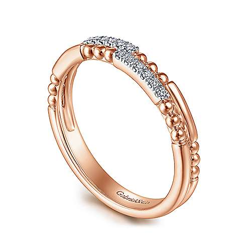 14K Rose Gold Two Row Beaded Diamond Stackable Ring