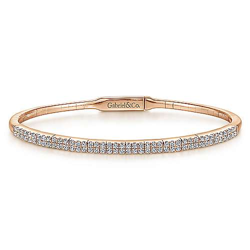 14K Rose Gold Two Row Diamond Bangle