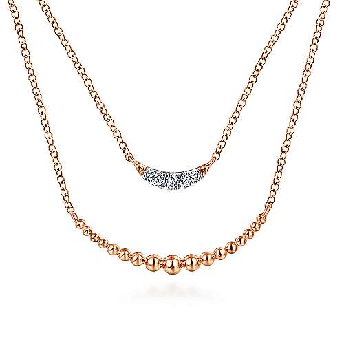14K Rose Gold Two Strand Diamond Crescent and Bujukan Beaded Necklace