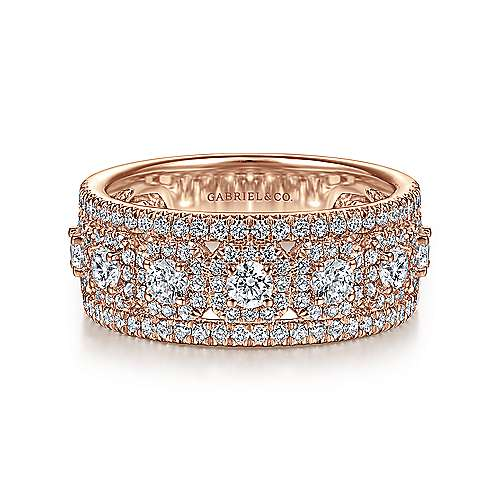 14K Rose Gold Wide Diamond Anniversary Band