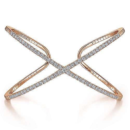 14K Rose Gold Wide X Diamond Bangle