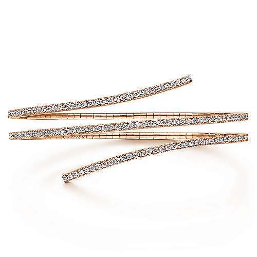 14K Rose Gold Wraparound Diamond Bangle