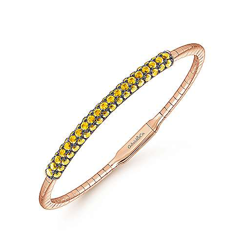 14K Rose Gold Yellow Sapphire Bangle