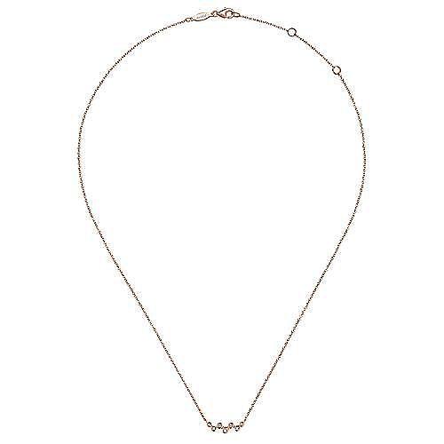 14K Rose Gold Zig Zag Bubble Bar Necklace with Bezel Set Diamonds