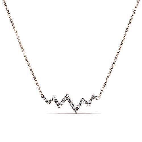 14K Rose Gold Zig Zag Diamond Necklace