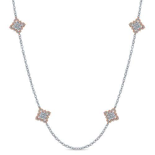 14K Rose and White Gold Filligree and Diamond Station Necklace