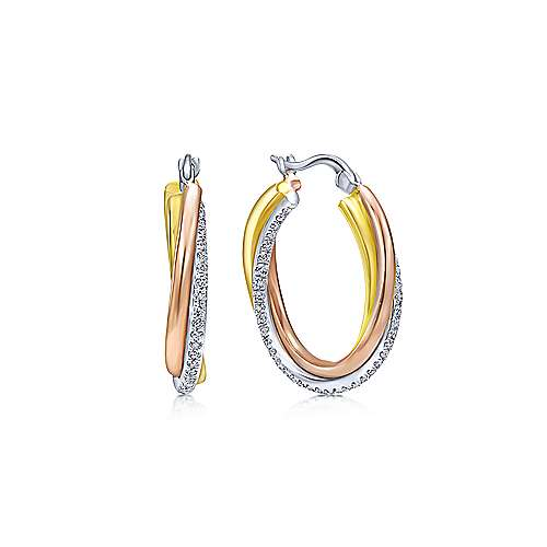 14K Three Tone Gold Prong Set (0.75ct.) 20mm Round Classic Diamond Hoop Earrings
