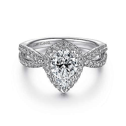 6f9554a22b1b5 14K White Gold Pear Shape Halo Diamond Engagement Ring ...