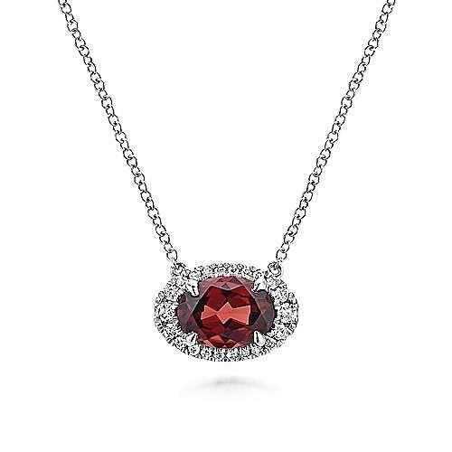 14K W.Gold Diamond & Garnet Necklace