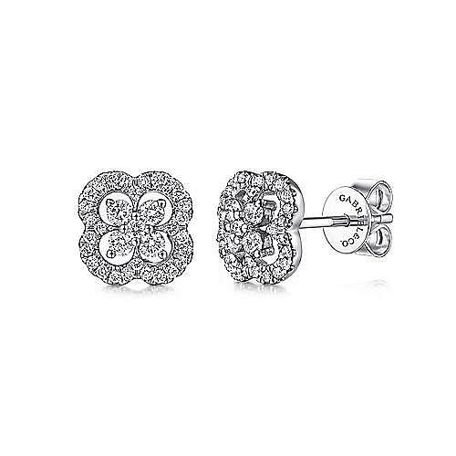 14K W.Gold Diamond Earring