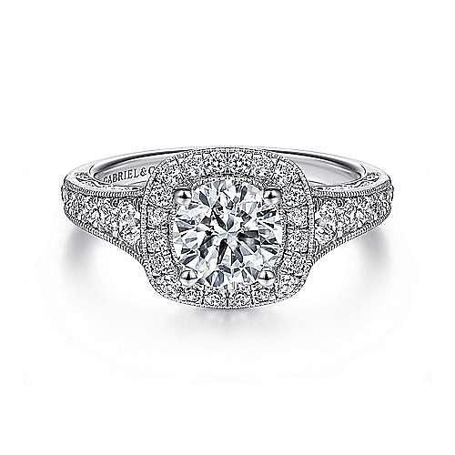 Gabriel - 14K W.Gold Diamond Eng Ring