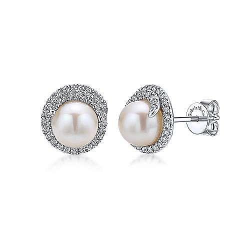 14K W.Gold Pearl&Dia Earring