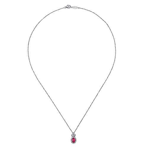 14K W.Gold Ruby&Dia Necklace