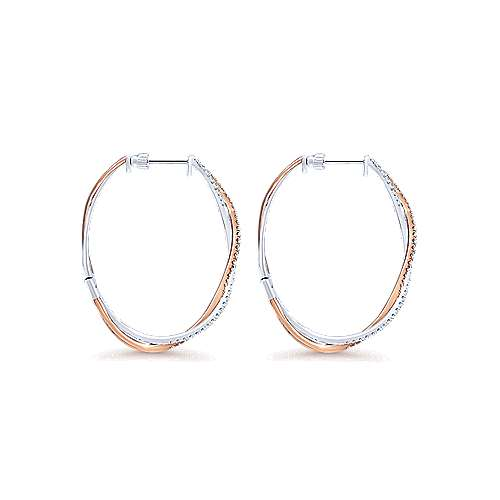 14K White & Rose Gold 40mm Round Twisted French Pave Diamond (1ct) Hoop Earrings