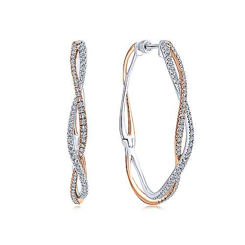 14K White & Rose Gold French Pave  40mm Round Twisted Diamond Hoop Earrings