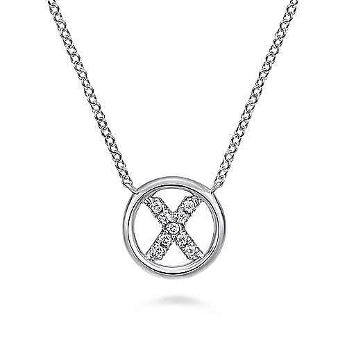 14K White Gold  Diamond 'X' Initial Necklace