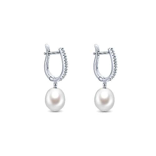 14K White Gold  Fashion Earring