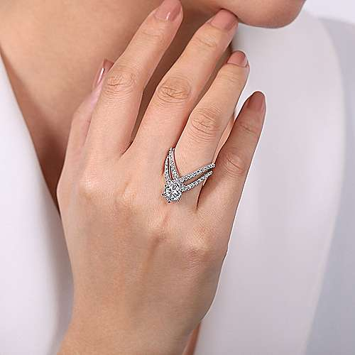 14K White Gold  Free Form Round Diamond Engagement Ring