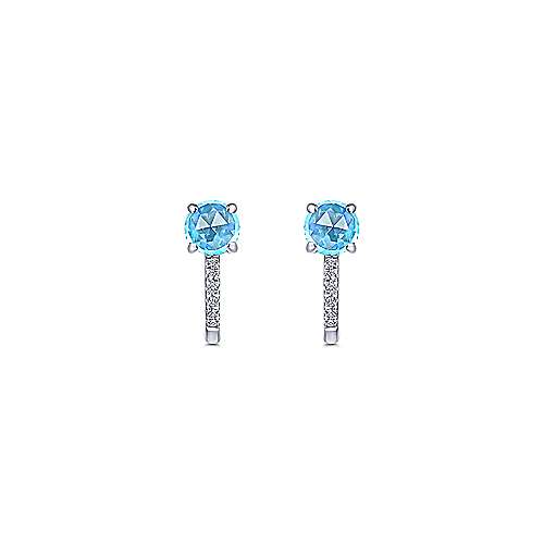 14K White Gold 10mm Blue Topaz and Diamond Huggies