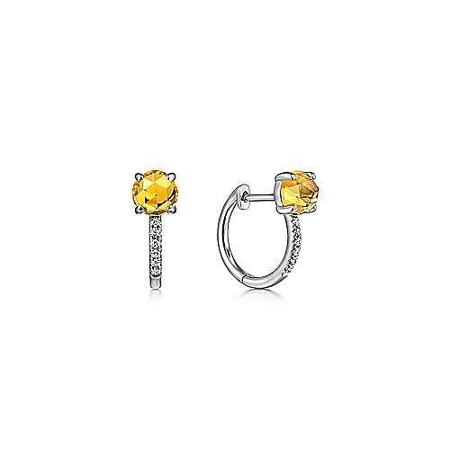 14K White Gold 10mm Citrine and Diamond Huggie Earrings