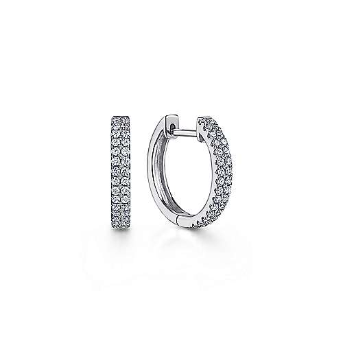14K White Gold 10mm Diamond Classic Huggies