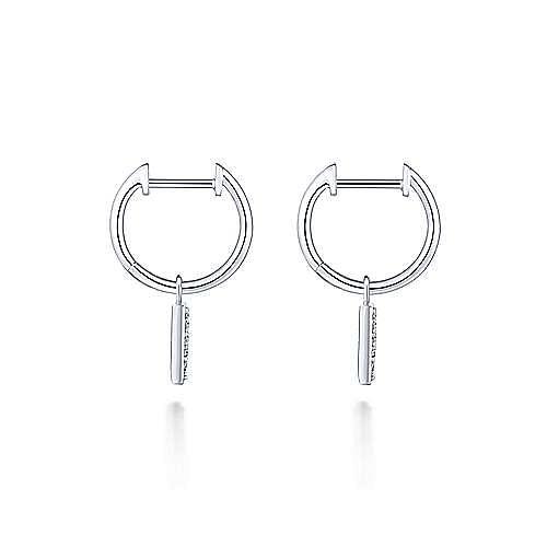 14K White Gold 10mm Diamond Cluster Triangle Huggie Drop Earrings