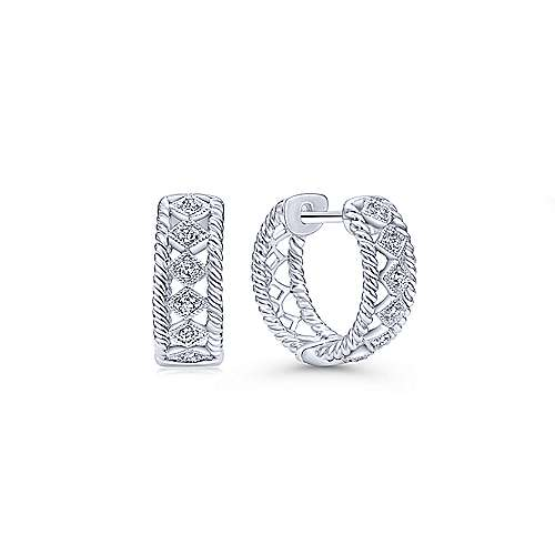 14K White Gold 10mm Diamond Huggie Earrings