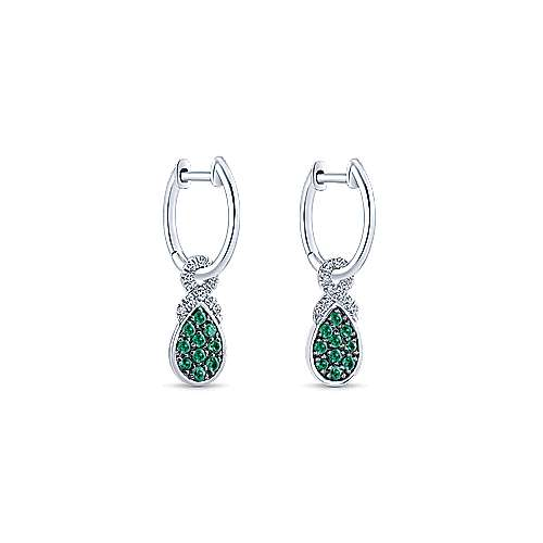 14K White Gold 10mm Diamond and Pear Shaped Emerald Cluster Huggie Drop Earrings