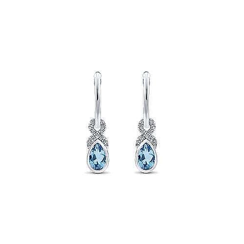 14K White Gold 10mm Diamond and Pear Shaped Swiss Blue Topaz Huggie Drop Earrings