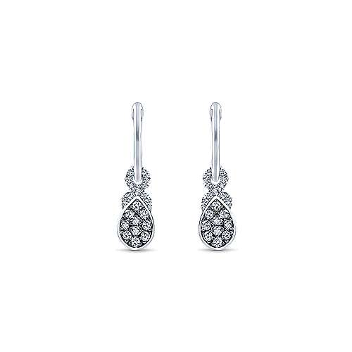 14K White Gold 10mm Diamond and Pear Shaped White Sapphire Cluster Huggie Drop Earrings
