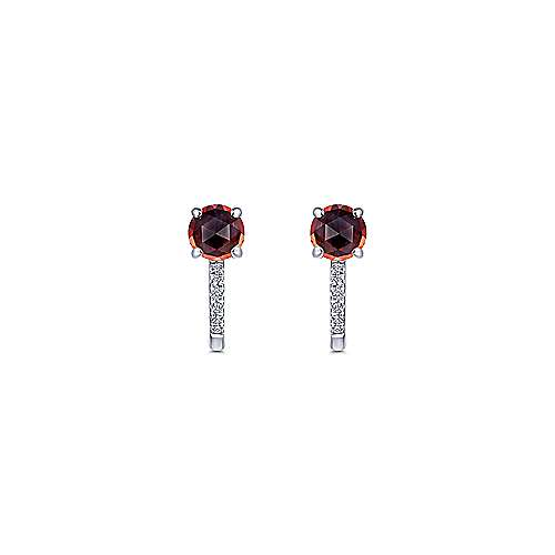 14K White Gold 10mm Garnet and Diamond Huggie Earrings