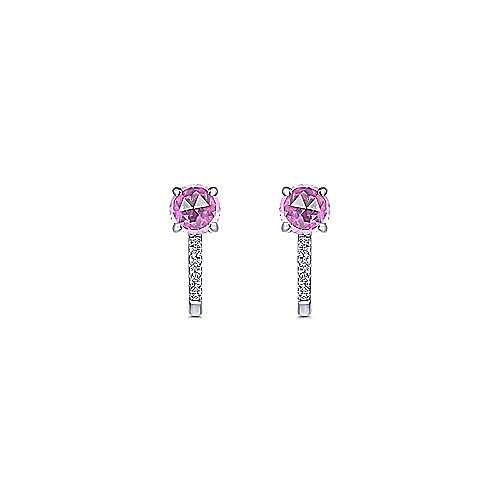 14K White Gold 10mm Pink Created Zircon and Diamond Huggies